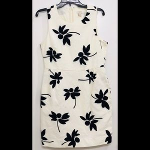 J. Crew Ivory & Black Floral Shift Dress